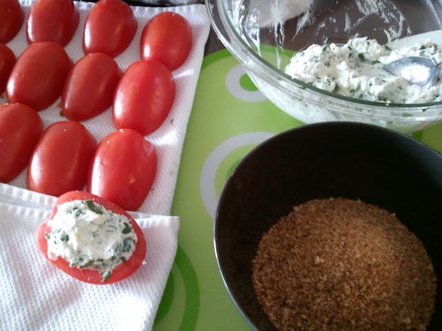 First fill them w/ the ricotta mixture, then press them into the bread ...